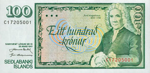P50 Iceland 100 Kronur Year nd
