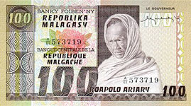 P63 Madagascar 100 Francs Year nd
