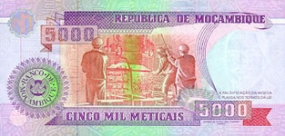 P136 Mozambique 5000 Meticaos Year 1991