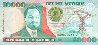 P137 Mozambique 10.000 Meticaos Year 1991