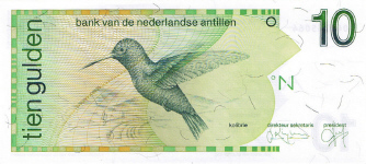 P23c Netherlands Antilles 10 Gulden Year 1994