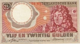 P 87 Netherlands 25 Gulden Year 1955 XF