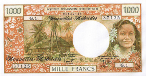 P20b New Hebrides 1000 Francs year nd