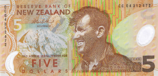 P185b New Zealand 5 Dollars year 2004 Polymer