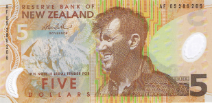 P185b New Zealand 5 Dollars year 2005/06 Polymer
