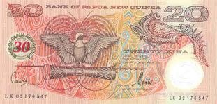 P27 Papua New Guinea 20 Kina Year nd Polymer