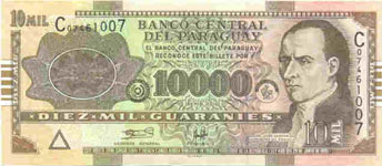 P224a Paraguay 10000 Guaranies Year 2004