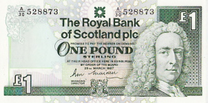 P346 Scotland 1 Pound year 1987