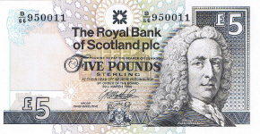 P352c Scotland 5 Pound year 1999