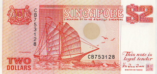 P27 Singapore 2 Dollar year nd