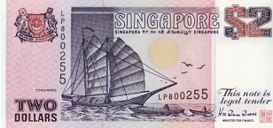 P28 Singapore 2 Dollar year nd