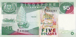 P19 Singapore 5 Dollar year nd