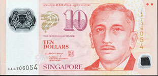 Singapore Pnew 10 Dollar Year nd Polymer
