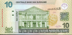 P158 Surinam  10 Dollar Year 2004