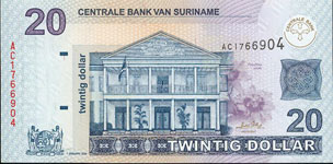 P159 Surinam  20 Dollar Year 2004
