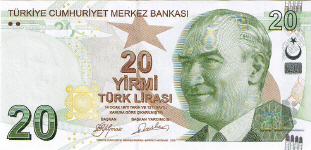 P224 Turkey 20 Lira year 2009