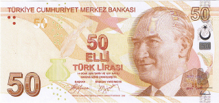 P225 Turkey 50 Lira year 2009