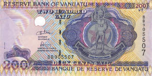 P 8b Vanuatu 200 Vatu Year nd security thread