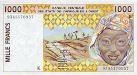 P711k Senegal W.A.S. K 1000 Francs Year 1997/2002