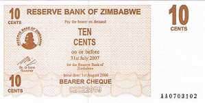 P35 Zimbabwe Bearer Cheque 10 Cent 2006