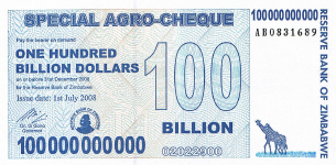 P64 Zimbabwe 100 Billion Dollars 2008