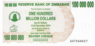 P58 Zimbabwe Bearer Cheque 100.000.000 Dollars 2008