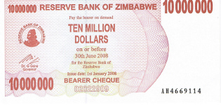 P55 Zimbabwe Bearer Cheque 10.000.000 Dollars until 2008