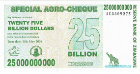 P62 Zimbabwe 25 billion Dollar Year 2008
