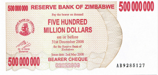 P60 Zimbabwe Bearer Cheque 500.000.000 Dollar 2008