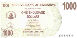 P44 Zimbabwe Bearer Cheque 1000 Dollar 2006
