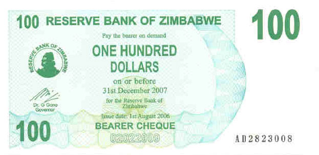 P42 Zimbabwe Bearer Cheque 100 Dollar 2006