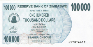 P48b Zimbabwe Bearer Cheque 100.000 Dollars until 2007