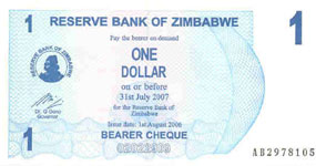 P37 Zimbabwe Bearer Cheque 1 Dollar 2006