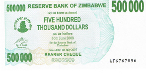 P51 Zimbabwe Bearer Cheque 500.000 Dollars until 2008