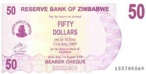 P41 Zimbabwe Bearer Cheque 50 Dollar 2006