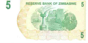 P38 Zimbabwe Bearer Cheque 5 Dollar 2006