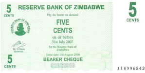 P34 Zimbabwe Bearer Cheque 5 Cent 2006
