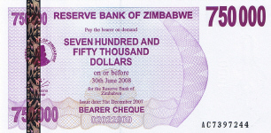 P52 Zimbabwe Bearer Cheque 750.000 Dollars until 2008