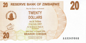 P40 Zimbabwe Bearer Cheque 20 Dollar 2006