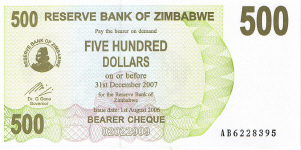 P43 Zimbabwe Bearer Cheque 500 Dollar 2006