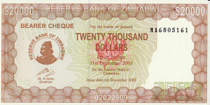 P24 Zimbabwe 20.000 Dollar 2005 Bearer Cheque
