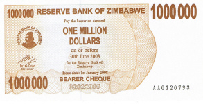 P53 Zimbabwe Bearer Cheque 1.000.000 Dollars until 2008