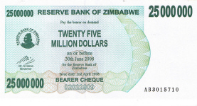 P56 Zimbabwe Bearer Cheque 25.000.000 Dollars 2008