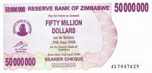 P57 Zimbabwe Bearer Cheque 50.000.000 Dollars 2008