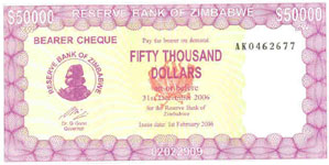 P47 Zimbabwe Bearer Cheque 50.000 Dollar 2007