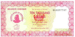 P22 Zimbabwe 10000 Dollar 2005 Bearer Cheque