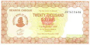 P23e Zimbabwe 20000 Dollar 2005 Bearer Cheque